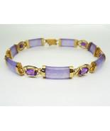 """HN Natural Lavender Jade & Amethyst Link Bracelet 7.5"""" 14k Gold - $425.00"""