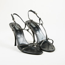 Prada Silver Leather Open Toe T Strap High Heel Sandals SZ 35.5 - $90.00