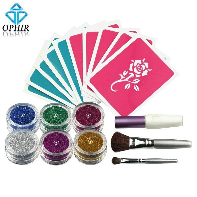 Kit de tatuaje temporal para el cuerpo 6 colores brillantes en polvo plantillas