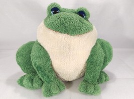 Carlton Cards Sitting Green Frog Plush 16 Inches Wide Retired Soft Huggable - $29.08