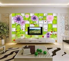 3D Grün kariert, Blumen 235 Fototapeten Wandbild Fototapete BildTapete Familie - $52.21+