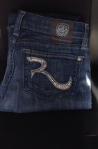 Rock & Republic Swarovski Crystal Logo Blue Jeans Sz 25 - $16.83