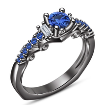 Solitaire With Accents Ring Black Gold Finish 925 Silver Round Cut Blue ... - $83.99