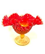 Amberina Kanawha Glass Bowl Candy Dish Hobnail Footed Compote Vintage 6 ... - $38.60