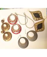 jewelry lot big metal earrings hoops teardrops 5 pr dangles red silver g... - $3.99