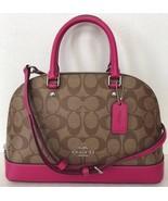 New Coach 27583 mini Sierra Satchel handbag Signature PVC Khaki / Cerise - $119.00