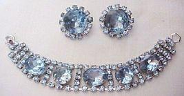 Vintage Light Blue Rhinestone Bracelet & Earrings  J45-01 - €52,90 EUR
