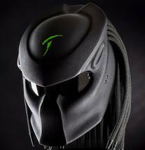 Predator Motorcycle Helmet Black Text Green Carving Matte (Dot & Ece Certified) - $250.00