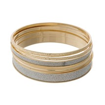 Four Piece Gold Tone Bangle Set with Silver Glitter Accents - $11.95