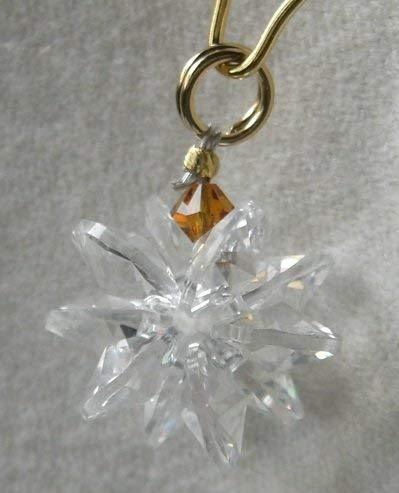 J'Leen Miniature Crystal Suncluster Charm - Clear Amber Accent