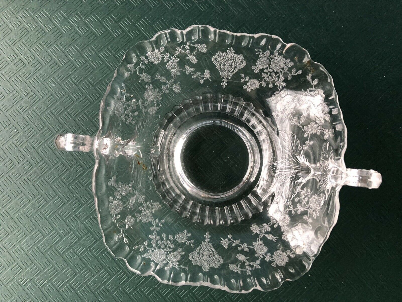 Primary image for Crystal Fostoria Etched Bon Bon Bowl Mint