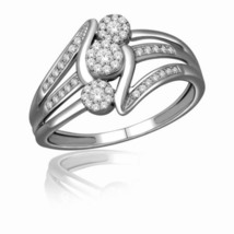 Solid 14k White Gold VVS2 2Ct Round Cut Swarovski Diamond Womens Engagem... - $459.99