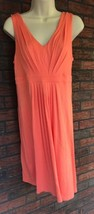Ann Taylor Loft Stretch Dress Size Small Coral Sleeveless V-Neck $49.50 Tag - $32.55