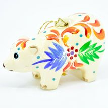 Handcrafted Painted Ceramic White Polar Bear Confetti Ornament Made in Peru image 3