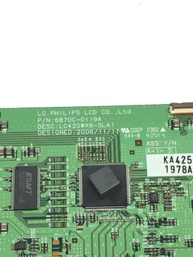 LG Philips 6870C-0119A T-Con Display Control Board LC420WX6-SLA1 image 2
