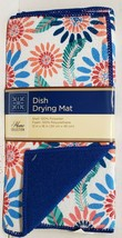 """Microfiber Dish Drying Mat, Approx 12""""x18"""", ROUND FLOWERS, blue, GR - $10.88"""