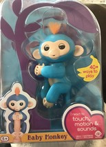 WowWee Fingerlings Baby Monkey Boris Blue Interactive Reacts Touch Motio... - $22.99
