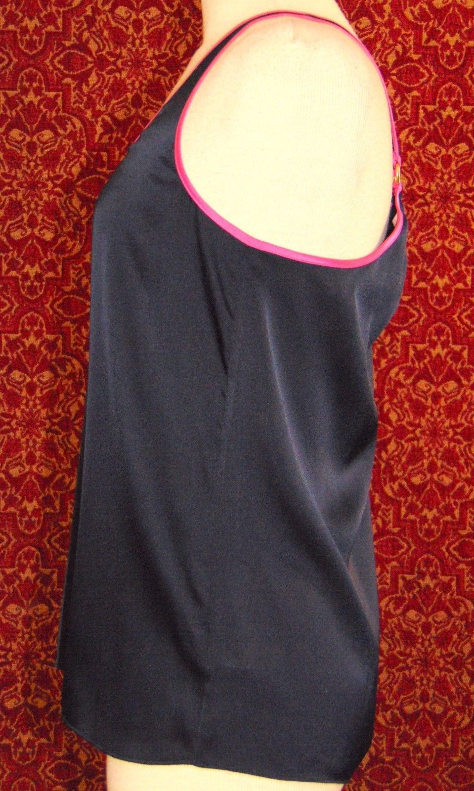 JUICY COUTURE Navy satin sleeveless tank blouse M (T41-03F8G) image 3
