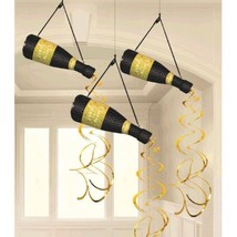 Champage Bottle 3 Pc Honeycomb Hanging Decorations New Years Eve - $17.99