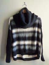 Victoria's Secret Moda International Striped Cowlneck Sweater Black/Gray... - $21.54
