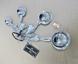 4pc Metal measuring spoon set ANGEL handle +HEART design ZINC Hostess gi... - $19.27
