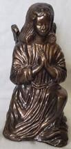 "Bronze Praying Angel Nativity Scene Figurine Heavy Hard to Find 5"" H x 2... - $12.75"