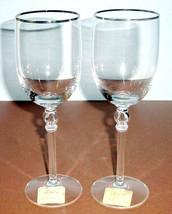 Lenox Platinum Innocence Crystal Wine Goblet SET/2 Open Oval Stem 12oz. New - $49.90