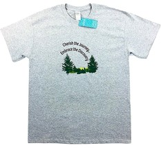 Inspirational Graphic T-Shirt Cherish the Journey Embrace the Discovery Men's LG - $12.50