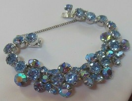 """Vintage Signed WEISS Blue Rhinestone & AB bracelet W/Safety Chain 7.5"""" long - $113.85"""