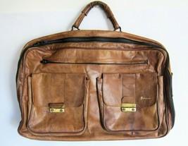 Vintage European Genuine Leather Brown Weekend Travel Bag SUPER CHIC - $13.96