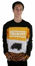 Trukfit Truk Cheetah Pullover Black Yellow Long Sleeve Sweatshirt Skater Shirt