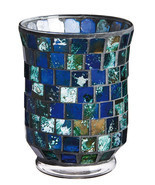 Indigo Blue Mosaic Glass Candle Holder - £9.91 GBP