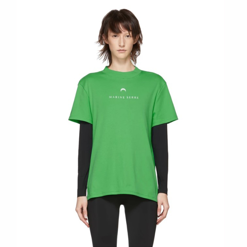MARINE SERRE Short Sleeve Graphic T-Shirt Red and Green