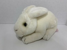 Russ Berrie plush white Easter bunny rabbit Cooper lying down toy stuffe... - $4.94