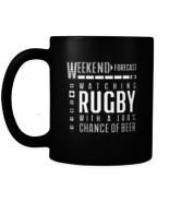 Rugby Coffee Mug Watching Rugby With Drinking Beer Gift Black Mug - $15.95+
