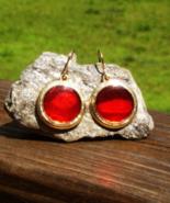 Red Enamel Circle Disc Dangle Fashion Earrings - $25.00