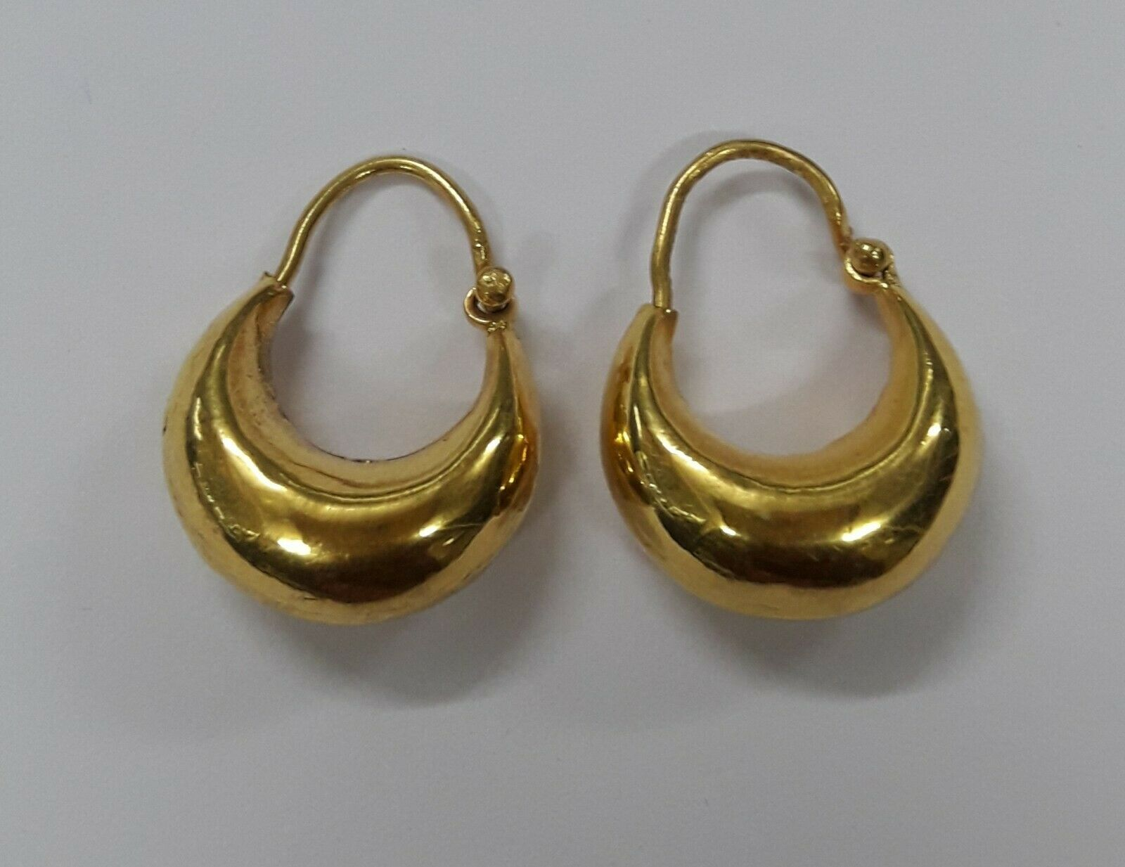 Primary image for 22kt gold hoop earrings earring pair vintage tribal jewelry handmade Chand Bali