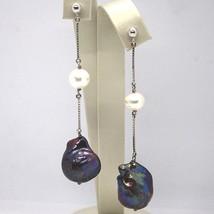 Drop Earrings White Gold 18k, Chain Venetian, Pearl Black, Baroque image 1