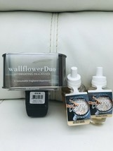 BATH BODY WORKS BRUSHED FAUX NICKEL DUO WALLFLOWER PLUG IN Holder + 2 Ho... - $19.79