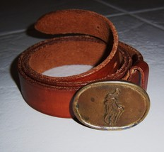 Polo Ralph Lauren Leather Belt w Polo Player Buckle Size 34 VINTAGE - $229.95
