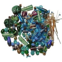 Loose Bead LOT earwires parts kit use as-is or mix match ~ Blues Greens ~ - $14.00