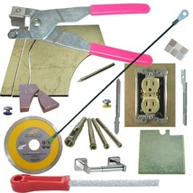 Tile & Glass Cutter Kit PK Curve Notch Cutout Jigsaw Rodsaw Grinder Dril... - $83.22