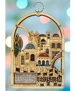 Jerusalem Design Wood Home Blessing Wall Hanging Decor with Semi Preciou... - $33.66