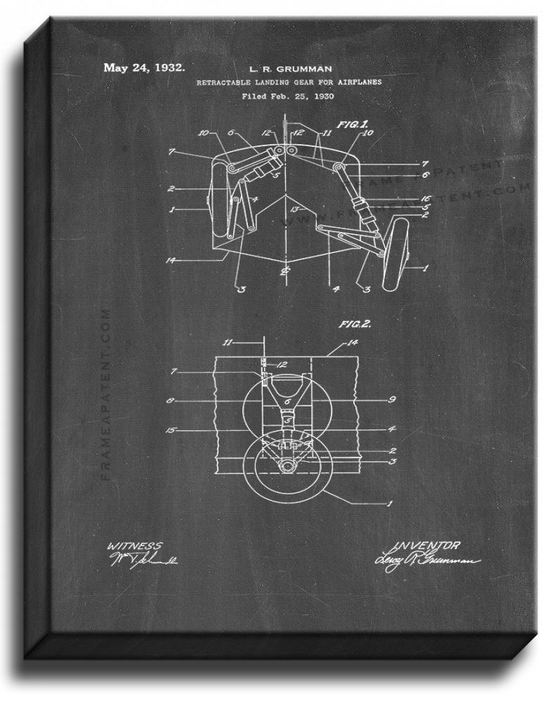 Primary image for Retractable Landing Gear For Airplanes Patent Print Chalkboard on Canvas