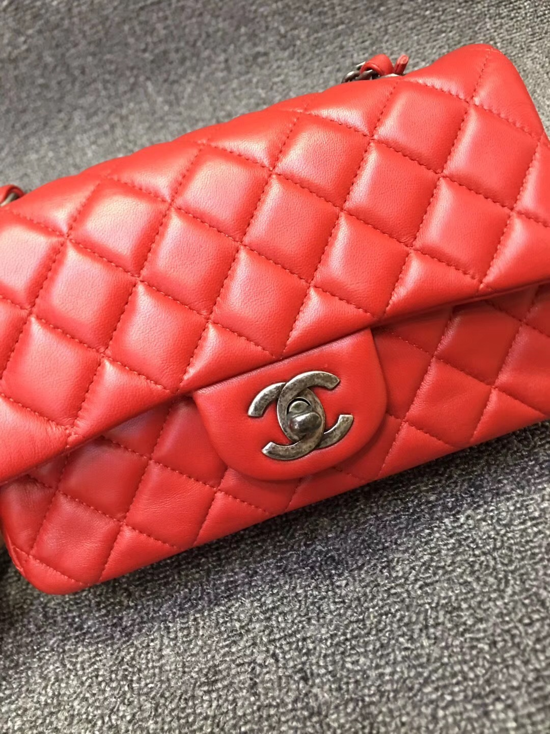 f7d9fb445a16 100% AUTHENTIC CHANEL RED QUILTED LAMBSKIN LARGE MINI RECTANGULAR FLAP BAG