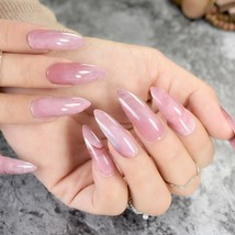 Pink marble extra long length stiletto artificial nails 24 piece set - $14.95