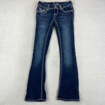 Amethyst Flared Leg Jeans Women's 1 Blue Low Rise Flap Back Pockets Dark... - $18.95