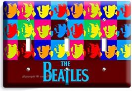 The Beatles Pop Art John George Paul Ringo Triple Light Switch Cover Room Decor - $14.57