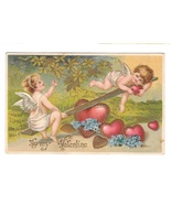 Cherubs Cupids on See Saw Teeter Totter Hearts Embossed Gilt Valentine P... - $9.95