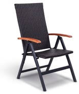 Rattan Folding Patio Chair Outdoor Aluminum Recliner Seat With Adjustabl... - $91.42